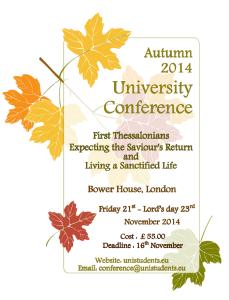 London, UK University Conference flyer November 2014