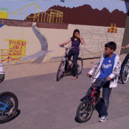 Young people's bike outing at Santa Monica Beach